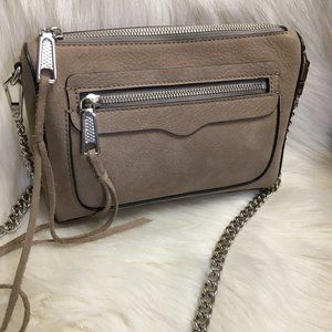REBECCA MINKOFF Sand Taupe Nubuck Leather AVERY XB